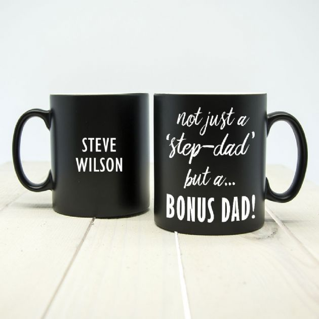 Bonus Dad Black Matte Mug
